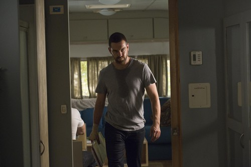 Antony Starr wallpaper possibly with a sliding door, a croquet, and a revolving door titled Antony Starr as Lucas cappuccio in 'Banshee'