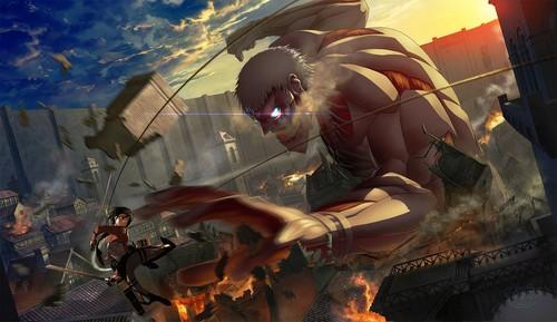 Shingeki no Kyojin (Attack on titan) achtergrond called Armored Titan achtergrond