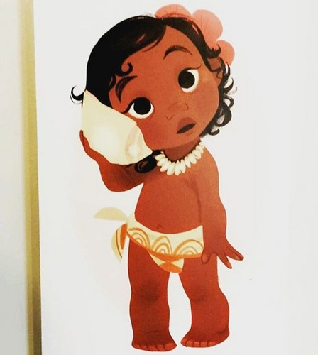 Disney's Moana Hintergrund titled Baby Moana concept art