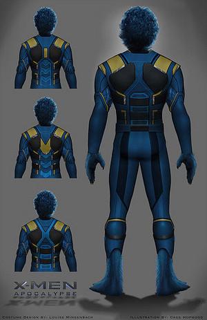Back-view of Beast's superhero costumes