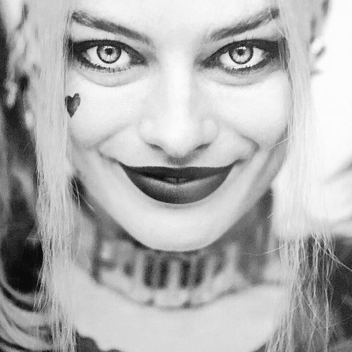 Suicide Squad wallpaper probably with a portrait entitled Black and White Portrait - Harley Quinn
