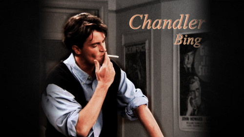 Друзья Обои possibly with a sign titled Chandler Bing