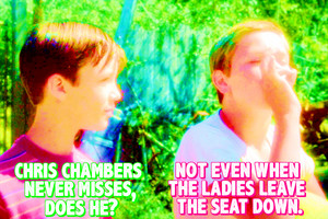 Chris Chambers never misses, does he? Not even when the ladies leave the asiento down.