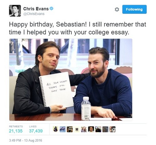 Chris Evans & Sebastian Stan 壁紙 containing a newspaper titled Chris' birthday tweet to Seb