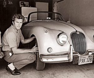 Clint Eastwood and Jaguar XK150 (1958)