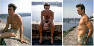 Clint Eastwood in Vizinada/Yugoslavia during the shooting of Kelly´s ヒーローズ 1970