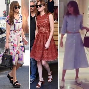 "Dakota's ""Ana Grey"" style from set of Fifty Shades Freed"