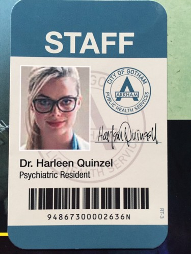 Suicide Squad 壁紙 possibly containing アニメ called Dr. Harleen Quinzel's ID