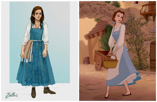 "Beauty and the Beast (2017) karatasi la kupamba ukuta probably with a kirtle and a frock entitled Emma Watson's Belle Costume for ""Beauty and the Beast"""