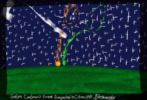 Battle for Dream island wallpaper possibly containing a sign titled Firey and Leafy (REQUESTED BY chase3464)