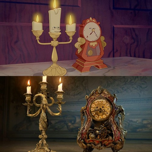 Beauty and the Beast (2017) karatasi la kupamba ukuta probably with a drawing room, a living room, and a parlor entitled First Look at Lumiere and Cogsworth