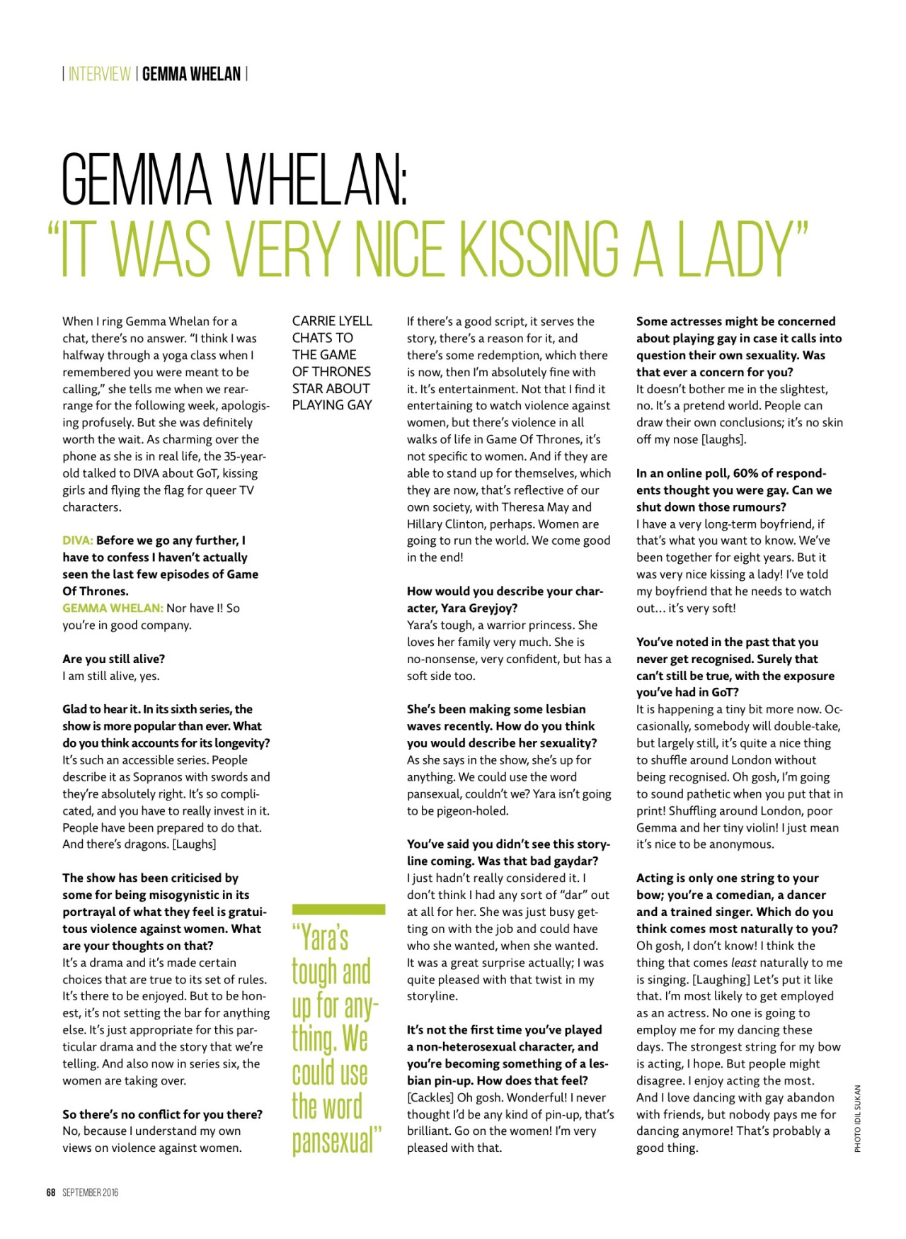 Gemma Whelan interview in Diva Magazine - September 2016 [1]
