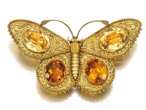 Gold Citrine Stone Butterfly