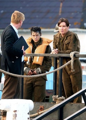 Harry and Cillian Murphy on the set of Dunkirk