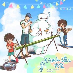 Hiro, Tadashi, Baymax and Aunt Cass