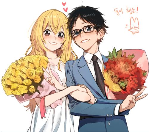 Shigatsu wa Kimi no Uso Hintergrund with Anime called Kaori and Kousei