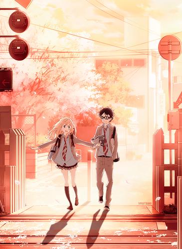 Shigatsu wa Kimi no Uso wallpaper containing a jalan, street called Kaori and Kousei