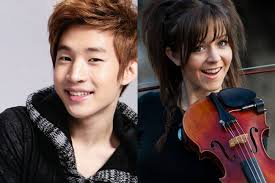 Henry Lau of Suju m!! wallpaper containing a violist and a cello called Lindsey Stirling and Henry Lau