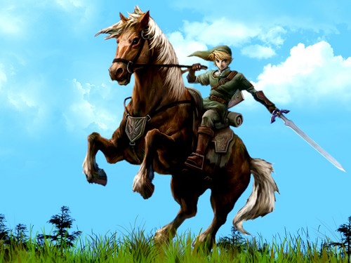 The Legend of Zelda wallpaper possibly with a fountain titled Link and Epona