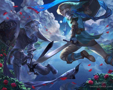 The Legend of Zelda wallpaper entitled Link vs Dark Link
