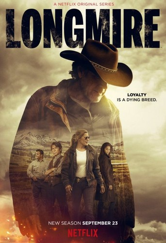 Longmire kertas dinding with a fedora, a campaign hat, and a boater titled Longmire - Season 5 Poster - Loyalty is a dying breed.