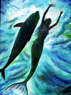 Mermaid Swimming with dolphin