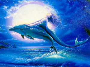 Mermaid with dolphin
