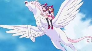Mirai and Riko on an Pegasus