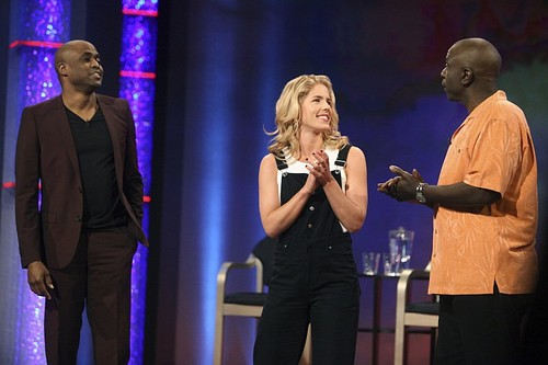 Emily Bett Rickards वॉलपेपर with a संगीत कार्यक्रम entitled Promo stills of Emily as the celebrity guest on Whose Line Is It Anyway? airing September 14th!