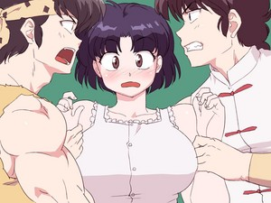 Ranma and Ryoga fight over Akane