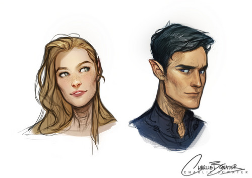 A court of thorns and roses series wallpaper possibly with a portrait titled Rhys and Feyre by Charlie Bowater on deviantart