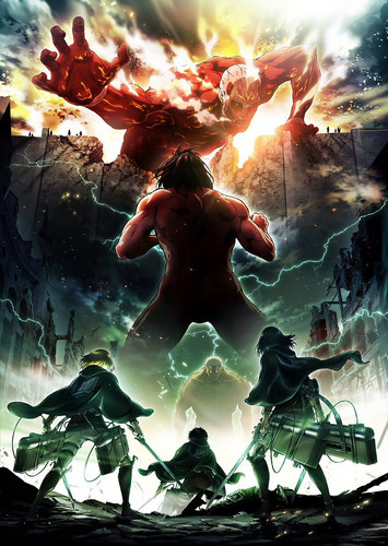 Shingeki no Kyojin (Attack on titan) karatasi la kupamba ukuta titled Shingeki no Kyojin [second season poster]