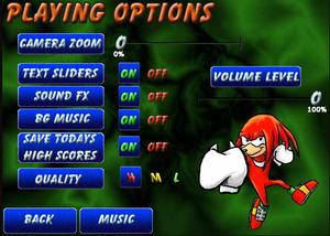 Sonic Boom तोप 2 Option Menu