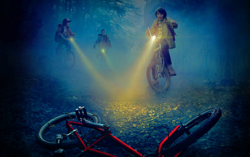 Stranger Things wallpaper containing a cycling, a bicycling, and a mountain bike titled Stranger Things wallpaper
