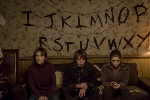 Stranger Things wallpaper probably containing a sign, a business suit, and a rua called Stranger Things