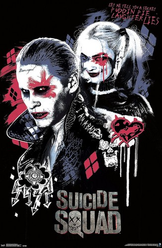 Harley Quinn wallpaper containing Anime titled Suicide Squad Poster - Harley and the Joker