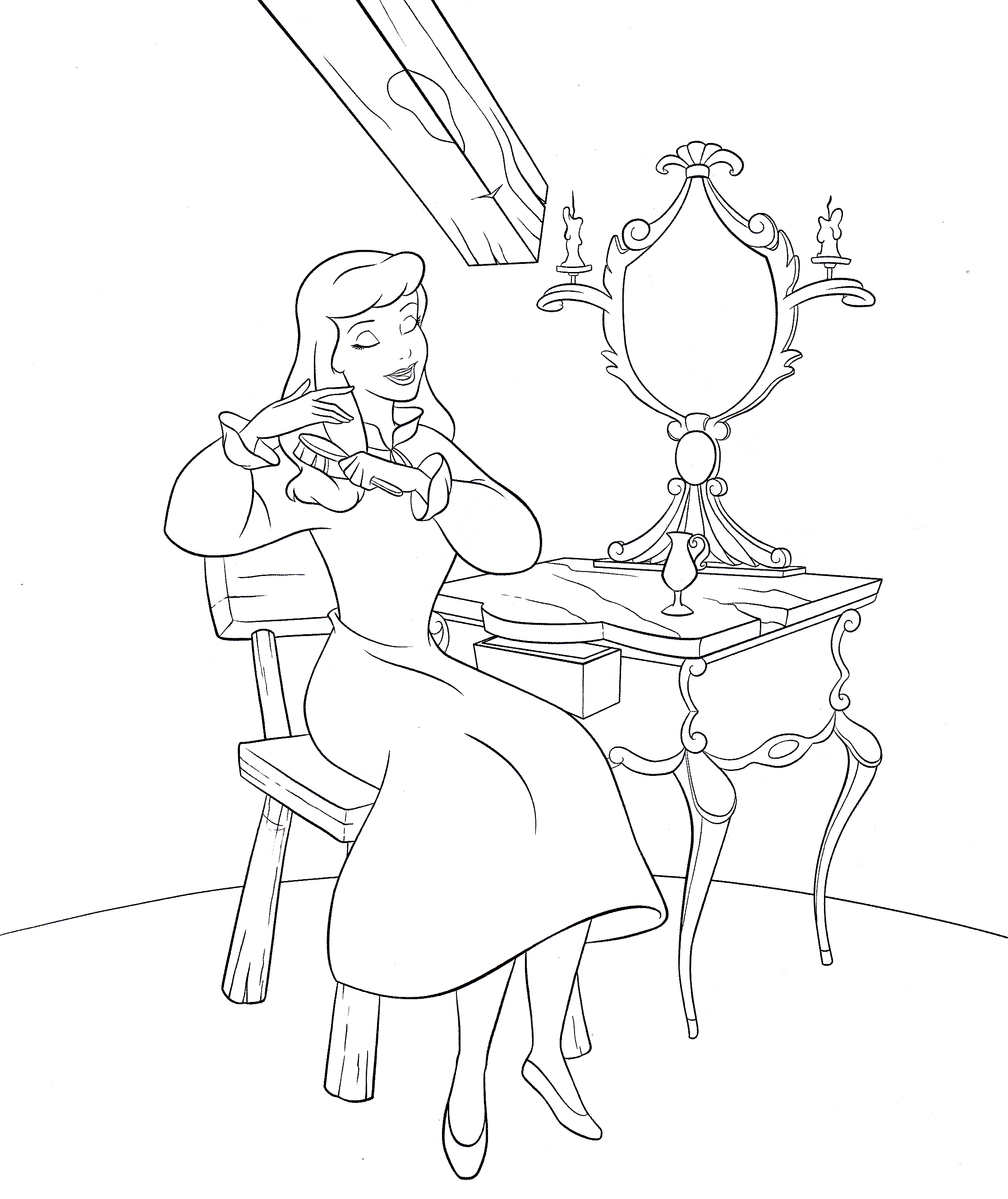 The Little Mermaid  Ariel brushing her hair coloring page