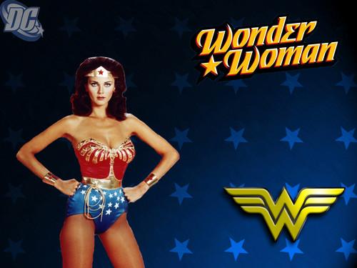 Lynda Carter karatasi la kupamba ukuta possibly containing a swimsuit and skin titled Wonder Woman