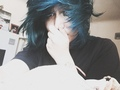 blue emo hair - emo photo