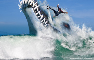 pliosaur attacks surfer