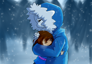 sans and frisk cold heart by lacampanellanuraver d9gvg0a