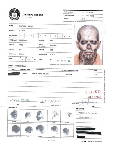 Suicide Squad 바탕화면 entitled A.R.G.U.S. Files - El Diablo's Criminal Record