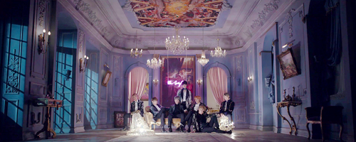 BTS wallpaper probably containing a street, a drawing room, and a kremlin entitled ♥ BTS - Blood Sweat and Tears MV ♥
