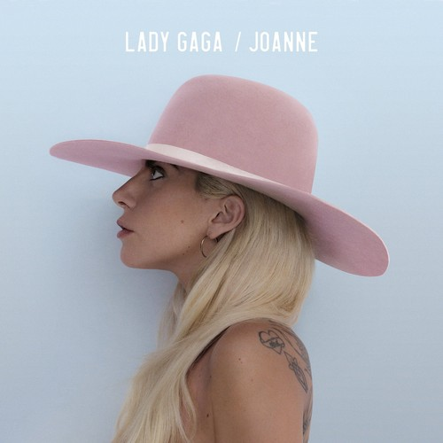 "Lady Gaga fond d'écran containing a snap brim hat, a campaign hat, and a boater titled ""Joanne"" album cover"