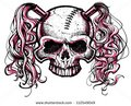 black and pink skull with pig tail - random fan art