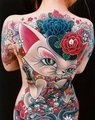 43 Cat With Flowers Tattoo On Back - tattoos photo