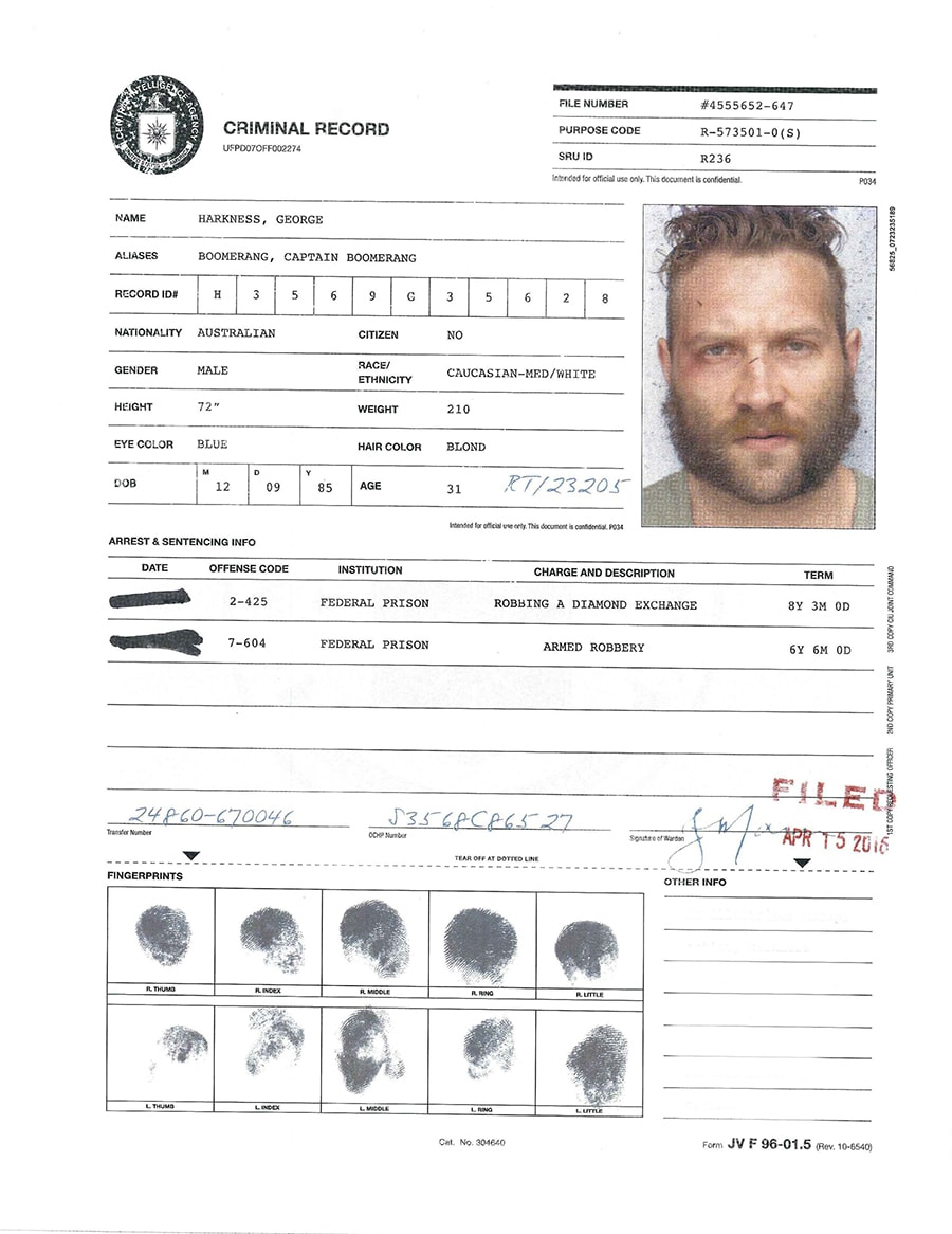 A.R.G.U.S. Files - Boomerang's Criminal Record