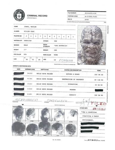 Suicide Squad 바탕화면 called A.R.G.U.S. Files - Killer Croc's Criminal Record