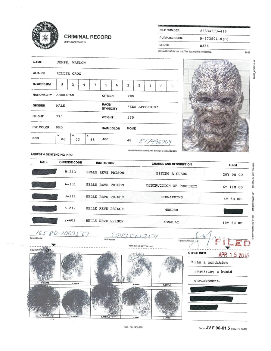 A.R.G.U.S. Files - Killer Croc's Criminal Record