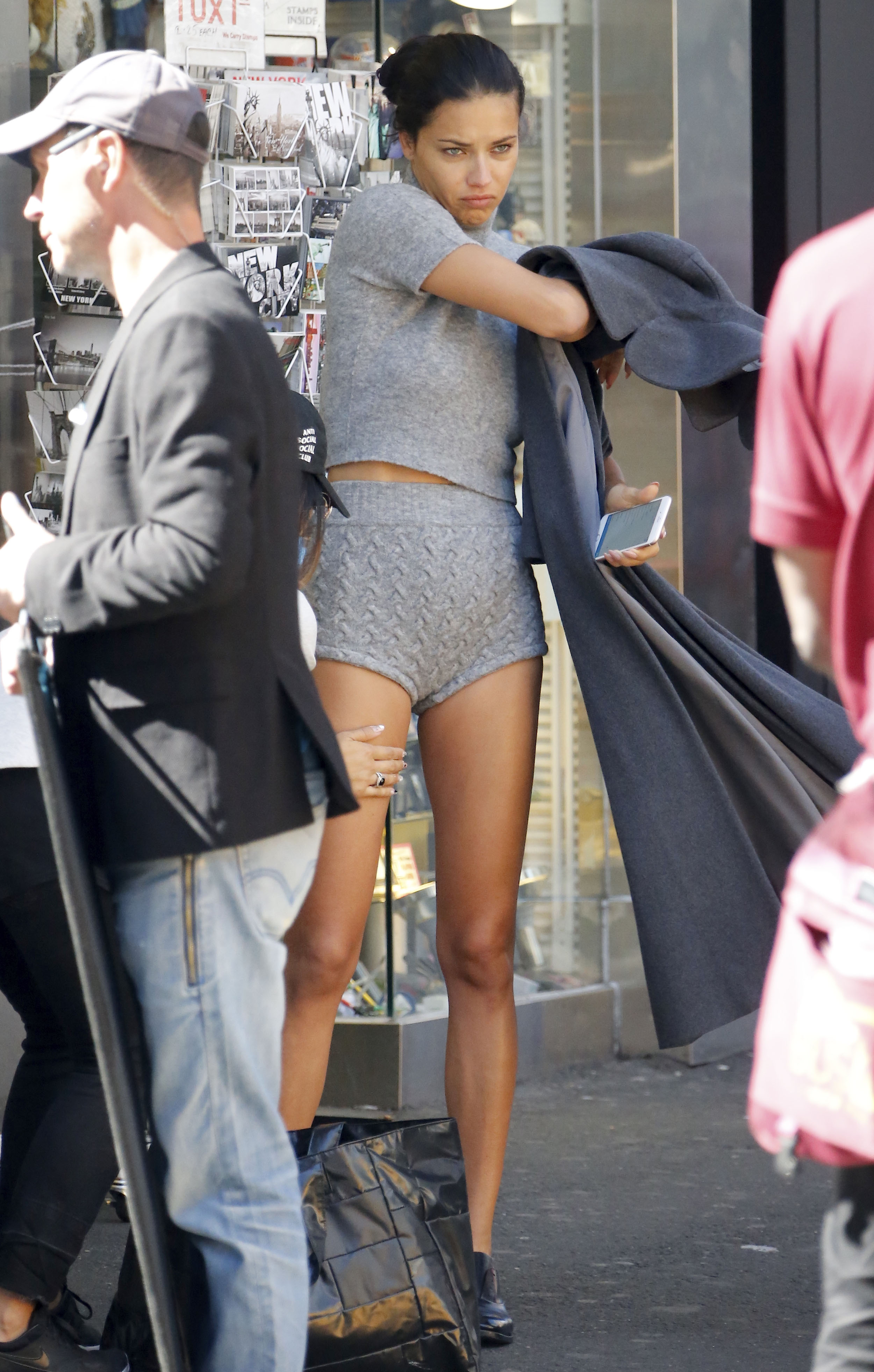 Adriana Lima in Times Square, shooting